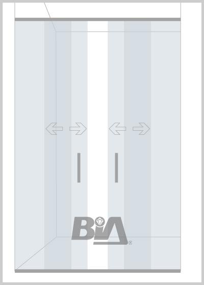 Mampara corrediza de 2 paños fijos y 2 puertas.