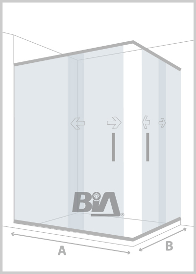 Mampara de esquina con 1 paño fijo y 1 puerta en cada lado.